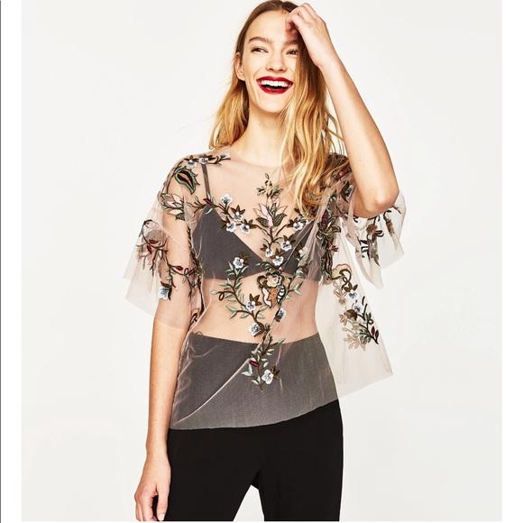 b796bd85e311a Zara Embroidered Mesh Top
